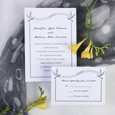 Simple white love birds wedding invitations EWI197 as low as $0.94