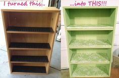 BEFORE: old school cassette tape storage box AFTER: chalk paint shelf! I removed the plastic slot trays & replaced them w/ pcs from an #upcycled yard sale sign. I made my own custom color #ChalkPaint Another TrulyTina original! #repurposed
