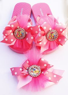 9cff676522920c Disney Princess Couture Flip Flops and a Matching Bow on Etsy