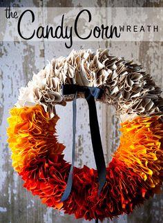 35 Fall Wreaths for Your Door - Candy Corn Wreath Tutorial - Fall Wreaths For Front Door, Fall Wreaths Ideas To Try, Easy DIY Fall Wreaths, Brilliant Fall Wreath DIY, Porch Decor, Cool Ideas For Fall, Fall Projects http://diyjoy.com/fall-wreaths-door