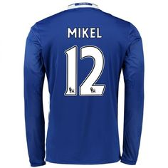 Chelsea 16-17 Cheap Home LS Soccer Shirts #12 MIKEL [E254]