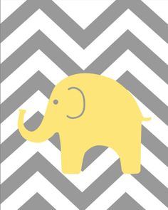 Yellow and Gray Nursery Elephant Giraffe Print Set by karimachal