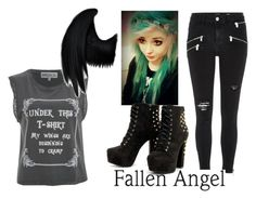 """Fallen Angel"" by makenzi-purdy ❤ liked on Polyvore featuring River Island and Wildfox"