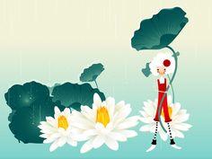 Korean Button Girl Illustration