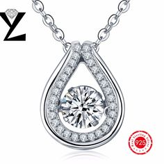 2016 personalized 925 sterling silver pendant necklace women jewelry wholesale with dancing CZ diamond pendants for best gift