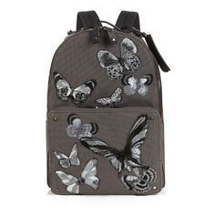Valentino Butterfly appliqué canvas backpack (253905 RSD) ❤ liked on Polyvore featuring men's fashion, men's bags, men's backpacks, bags, multi and mens canvas backpack