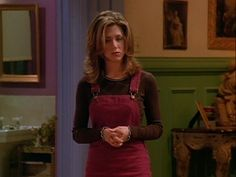"Lovechild of Corduroy Overalls and a Velvet Dress | Here Are All 90 Outfits Rachel Green Wore On The First Season Of ""Friends"""