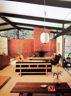 Mid Century Modern Californian Architecture: The Hayes Residence. Mid Century Decor, Mid Century House, Mid Century Style, Mid Century Furniture, Mid-century Interior, Modern Interior Design, Modern Decor, Modern Furniture, Mid Century Light Fixtures