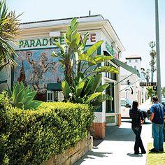 Santa Barbara, CA, Paradise Cafe.  Great bar and Burgers.
