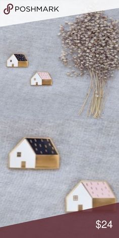 🎄Enamel lapel pin little House pastel bundle cute Adorable tiny pins perfect for the lapel of your favorite jean jacket or blouse or place them on your tote or backpack! You will get both the one with the pink roof and one with the black roof. Super cute! Looks like something Topshop, Urban Outfitters, Anthropologie or unif would carry. UNIF Jewelry Brooches