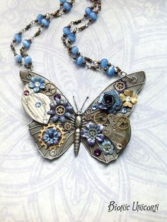 Steampunk Necklace   Steampunk Butterfly Necklace Custom Design by bionicunicorn, $110.00