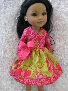 Lite Green and Pink Dress for Corolle Les Cheries, Groovy Girl or Hearts for Hearts Girls by sabaisabaiboutique on etsy