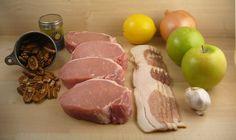 Paleo Crock Pot Stuffed Pork Chops with bacon, apples, and walnuts.