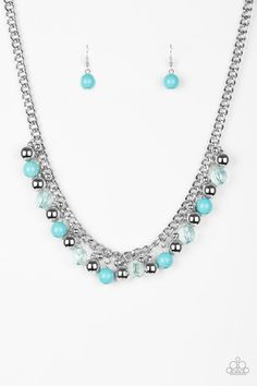 Featuring glassy and polished finishes, refreshing blue beads trickle along the bottom of a bold silver chain. Varying in size, glistening silver beads trickle between the colorful accents, creating a bubbly fringe below the collar. Features an adjustable clasp closure.