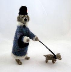 A dog walking a dog... / needle felting