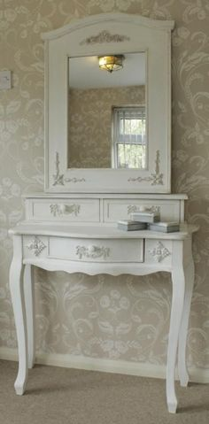 Antique white french style Dressing table & mirror - Melody Maison®
