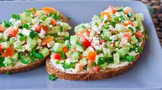 vegan with subs (tofutti cream cheese and leave off the blue cheese) veggie open face sandwiches via jocooks