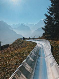 Toboggan, Alpine Slide at Oeschinensee, Switzerland Places To Travel, Travel Destinations, Places To Visit, Grindelwald Switzerland, Gstaad Switzerland, Geneva Switzerland, Best Places In Switzerland, Switzerland Wallpaper, Voyage