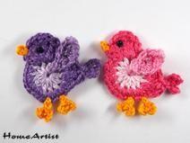 Bird Crochet Applique Embellishment  Free color