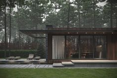 A forest house in Ukraine, with a wood and stone exterior, and a natural interior of wood clad walls, a stacked stone fireplace, and a small courtyard design. Courtyard Design, Small Courtyards, Small Modern Home, Modern Living, Concrete Steps, Forest House, Story House, Staircase Design, Modern House Design