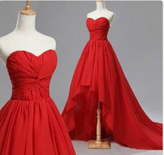 Handmade High Low Red Sweetheart Chiffon Prom Dresses 2016, Red Prom Dresses 2016, High Low Prom Dresses, Custom Prom Dresses