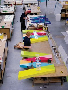 Making the signs for Meridian Shopping Centre