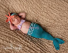 On Sale Baby Mermaid Tail Costume, Headband, Shell Top, Crochet Newborn Photography Prop, 0 to 3 Months