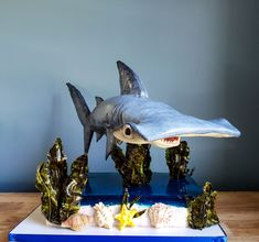 3D Edible Shark Cake The hammerhead body is cake the tail and fins are modeling chocolate. The base is a 1/4 sheet cake topped with jello...