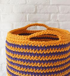 Ready to ship /XL Large handmade chunky crochet basket, cotton cord, yellow, violet Chunky Crochet, Straw Bag, Cord, Baskets, Ship, Yellow, Knitting, Trending Outfits, Unique Jewelry