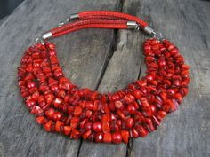 Statement Red Necklace  Multi strand necklace Red statement
