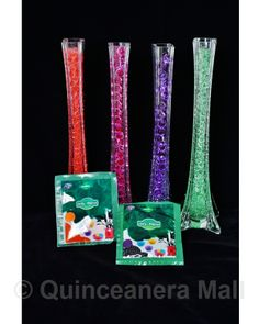 "Quinceanera Mall - 3/4"" Jelly Beads #JD1 3/4"" These jelly beads are incredible! This jelly décor is a water-absorbent that can hold about 100 times their weight in water. You just apply one pack of jelly in about 1.0 quarts of water and allow to fully expand in 6-8 hours. Remove the expanded beads and pour into vases or bowls. One package may fill aproximately up to three 16"" eiffel tower vases. This is an awesome way to turn your decorations into beautiful and unique centerpieces!"