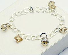 Amazon.com: 925 sterling silver champagne crystal with Swarovski elements butterfly pendant bracelet jewelry: Jewelry