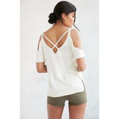 Ecote High Tide Cold Shoulder Sweater -  Ivory L at Urban Outfitters ($59) ❤ liked on Polyvore featuring tops, sweaters, cut out top, open shoulder top, white cold shoulder top, deep v neck top and cut-out sweaters