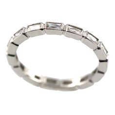 French cut Platinum eternity band | From a unique collection of vintage band rings at https://www.1stdibs.com/jewelry/rings/band-rings/