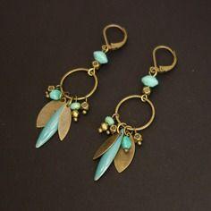 Boucles d'oreilles longues bleu turquoise et bronze