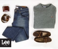 Classic and Sophisticated Outfit #jeans #denim #sweater #loafers #belt #brown #grey #blue