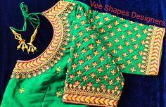 Aari Work Blouse, Bell Sleeves, Bell Sleeve Top, Fancy Blouse Designs, Necklace Online, Designers, Shapes, Beautiful, Tops