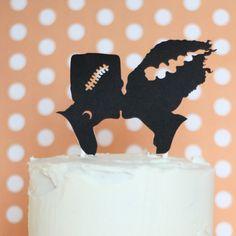 Frankenstein Silhouette Wedding Cake Topper for Halloween or Movie Buffs