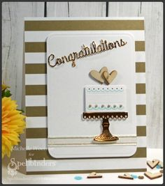 Congratulations wedding cake - Scrapbook.com - Die cut sentiment from foil cardstock lends an elegant air to any wedding card.