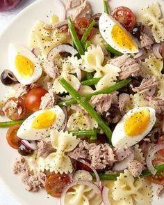 Pastasalade Niçoise Good Healthy Recipes, Clean Recipes, Veggie Recipes, Pasta Recipes, Salad Recipes, I Love Food, Good Food, Salade Caprese, Work Meals
