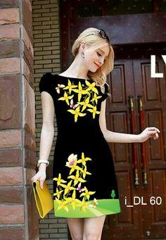 Đầm suông nền đen in hoa vàng 3D-MD1502 Giá: 320.000đ
