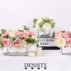 DENSITY密度/粉色清新仿真花成品花艺/家居样板房客厅装饰摆件