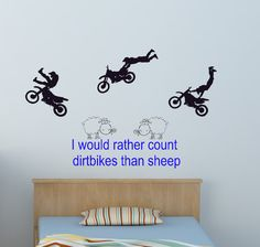 Dirtbike Decal Motocross Sticker Quote Wall by aluckyhorseshoe