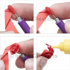 "Folded rose, steps 5-8 (written directions on post)---""In order to create a rose like one in the picture, you will need a 3/8""-wide (~1 cm), 12""-long (~30 cm) strip of paper, a quilling tool and glue."""