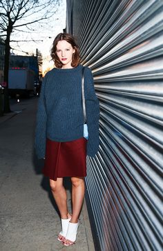 Unexpected color combination and playing with proportions makes for interesting #fall #fashion #style