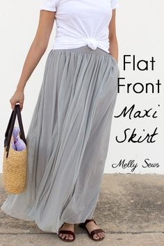 Sewing Skirts Sew a maxi skirt - video and written tutorial to sew a lined, flat front, elastic waist maxi skirt in any size. - Sew a maxi skirt - video and written tutorial to sew a lined, flat front, elastic waist maxi skirt in any size. Sewing Projects For Beginners, Sewing Tutorials, Sewing Hacks, Sewing Tips, Tutorial Sewing, Dress Tutorials, Sew Maxi Skirts, Diy Maxi Skirt, Maxi Skirt Tutorial