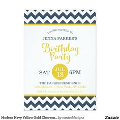 Modern Navy Yellow Gold Chevron Birthday Party 5x7 Paper Invitation Card