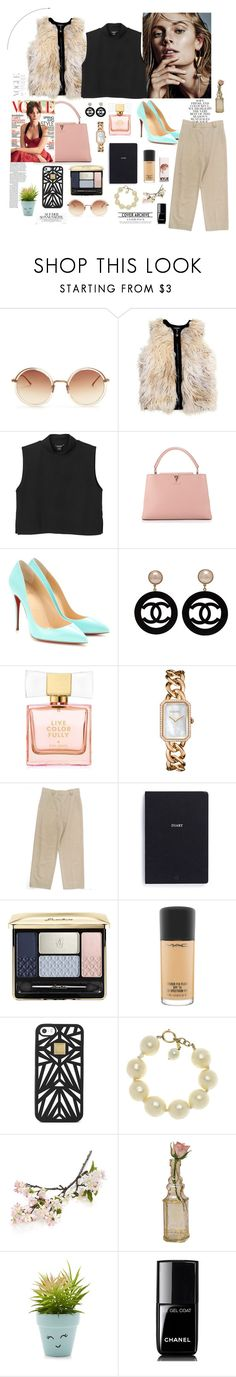 """vest"" by naianycoco ❤ liked on Polyvore featuring Linda Farrow, Monki, Louis Vuitton, Folio, Christian Louboutin, Chanel, Kate Spade, Bynd Artisan, Guerlain and MAC Cosmetics"