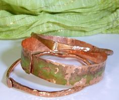 Unisex Hand Hammered and Patinaed Copper Bangle Trio by cherbear71, $32.00