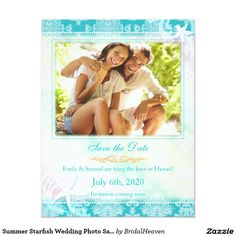 Summer Starfish Wedding Photo Save the Date Card Lovely beach starfish and ocean waves with a sassy damask pattern in teal designed on custom Photo Wedding Save the Date Invitations. Fun & whimsical save the date cards perfect for your tropical | beach | destination wedding! All the sample text can be fully customized with your own wording. Feel free to change the fonts, colors and sizes of the text as well. (You can find the matching wedding essentials & favors in this store, Bridal Heaven.